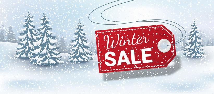 Winter sale landscape background with label
