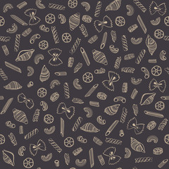 Pasta background. Seamless pattern. Vector illustration. Hand drawn various kinds of pasta.