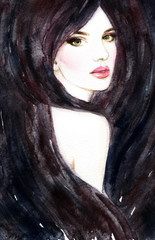 Woman with long hair.watercolor fashion illustration