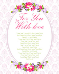 Wedding Card with lilac flowers and rose hips