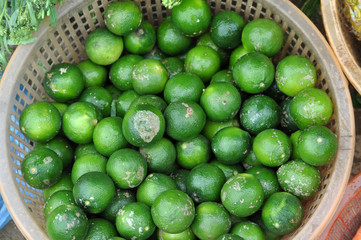 Lime fruits in a basket