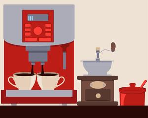Coffee machine making coffee. Coffee Grinder and Sugar Bowl. Vector illustration