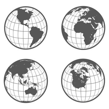 Set of globes with different continents earth flat style
