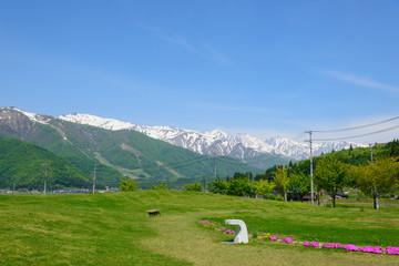 Ushiro-tateyama mountains, a part of Northern Alps, and countryside