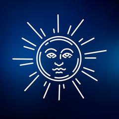 Sun face icon. Sun face sign. Sun face symbol. Thin line icon on blue background. Vector illustration.