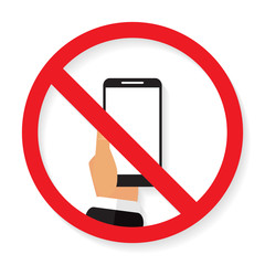Sign of ban call to turn off phone with shadow