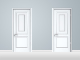 White closed door template, isolated on white background.