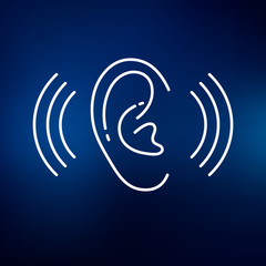 Ear hearing aid icon. Volume increase sign. Ear hear symbol. Thin line icon on blue background. Vector illustration.