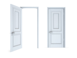 White Open and Closed Door with Frame Isolated on Background