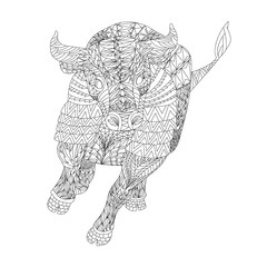 Patterned bull zentangle style. Good for T-shirt, bag or whatever print. EPS 10 vector illustration