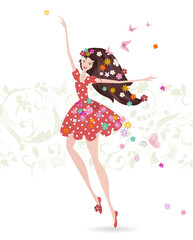Happy girl with flowers on her head. greeting card for your desi