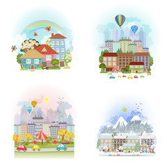 lovely set cards of cute cityscape. Urban landscape of four seas