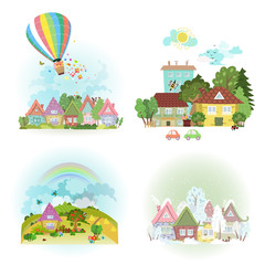 lovely set of cute cityscape in different times of year. collect