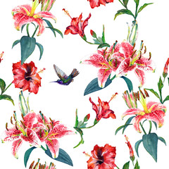 Tropical pink lilies and red hibiscus flowers with a hovering colibri. Seamless floral pattern, hand painted watercolor. Isolated on white background. Fabric texture.