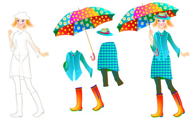 Exercise for children to draw and paint beautiful dress for the favorite doll, vector cartoon image.