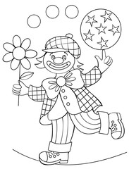 Page with black and white drawing of clown for coloring. Developing children skills for drawing. Vector image.