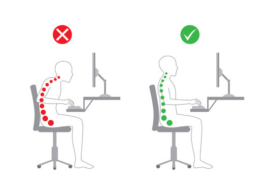 Correct body alignment in sitting working with computer