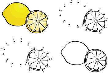 Cartoon lemon. Vector illustration. Coloring and dot to dot game