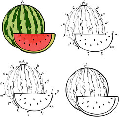 Cartoon watermelon. Vector illustration. Coloring and dot to dot
