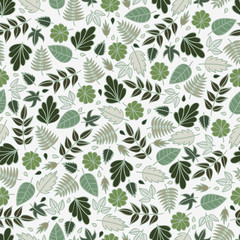 The grass and leaves. Seamless pattern