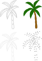 Cartoon palm tree. Vector illustration. Dot to dot game for kids
