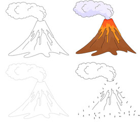 Cartoon erupting volcano. Vector illustration. Dot to dot game f