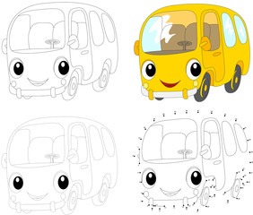 Cartoon yellow bus. Vector illustration. Dot to dot game for kid