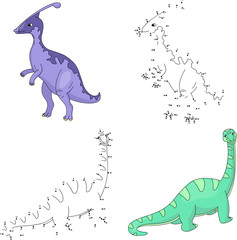Cartoon parasaurolophus and diplodocus. Vector illustration. Dot