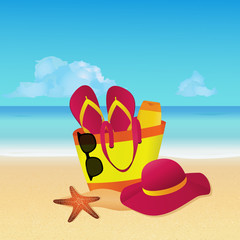 Objects set with beach bag, flip flops, sun hat and sunglasses on tropical beach. Summer background. EPS10 vector illustration