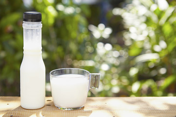 Milk in bottle and in glass on the table outdoor
