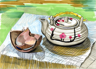 The teapot with a coconut shells