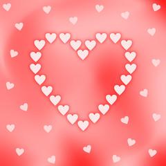 Ein großes Herz geformt aus rosa Herzen auf einem rot rosa schillerndem Hintergrund mit Herzen