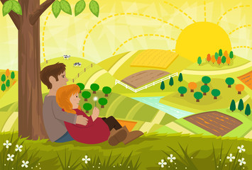 Romantic Landscape - Young couple are sitting under a tree and looking at a beautiful landscape. Eps10
