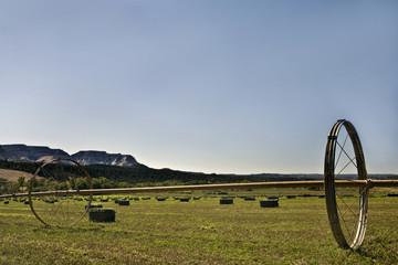 Hay field bales irrigation in Utah
