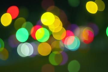 Bokeh background, natural lens bokeh of night city lights.