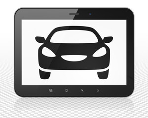 Tourism concept: Tablet Pc Computer with Car on display