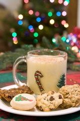 Christmas Cookies and Eggnog – Assorted Christmas cookies with a cup of eggnog. Christmas tree lights in the background.