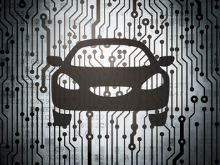 Travel concept: circuit board with Car