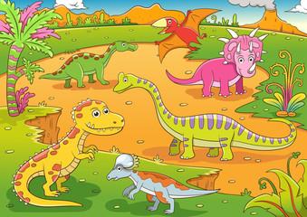 illustration of cute dinosaurs cartoon