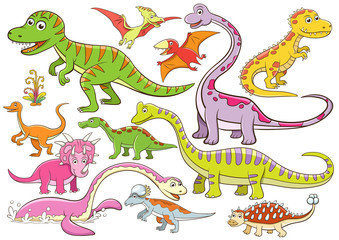 illustration of cute dinosaurs cartoon character