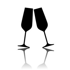 Illustration of sparkling champagne glasses.
