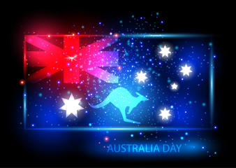 Australia day card with flag and kangaroo. Flag is presented as shining combinations of red, blue and white lights. Can be used for print products, page and web decor or other design. Vector.