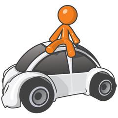 Orange Person sitting on buggy car