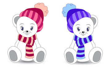 wnite teddy bear in a cap and a scarf