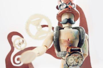 Steampunk wooden dummy.