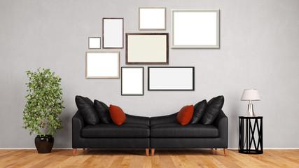Viele Bilderrrahmen an Wand im Wohnzimmer