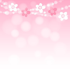 Cute spring card with cherry tree blossoms garland and lights, vector