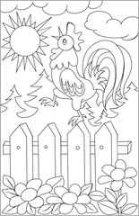 Page with black and white drawing of rooster for coloring. Developing children skills for drawing. Vector image.