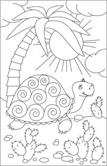 Page with black and white drawing of turtle for coloring. Developing children skills for drawing. Vector image.