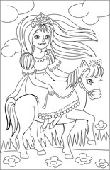 Page with black and white drawing of riding princess for coloring. Developing children skills for drawing. Vector image.
